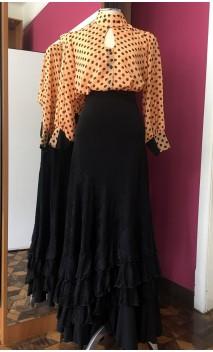 Camisa Tipo Malla Naranja c/lunares negros