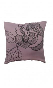 Capa de Almofada Floral Cinza e Lilás