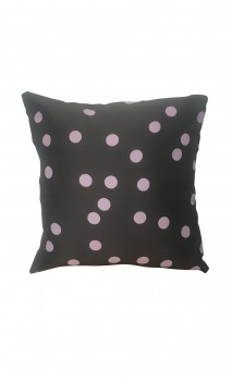 Throw Decorative Pillow Cover Lilac Polka-dots over Grey Background