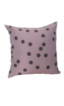 Throw Decorative Pillow Cover Gris Polka-dots over Lilac Background