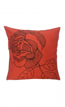 Throw Decorative Pillow Cover Flower Orange & Brown