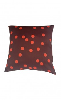 Throw Decorative Pillow Cover Orange Polka-dots over Brown Background