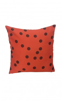 Throw Decorative Pillow Cover Brown Polka-dots over Orange Background