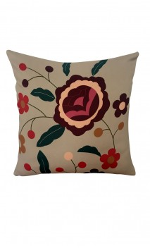 Throw Decorative Pillow Cover Colorful Floral Over Beige Background