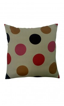 Throw Decorative Pillow Cover Colorful Polka-dots over Beige Background