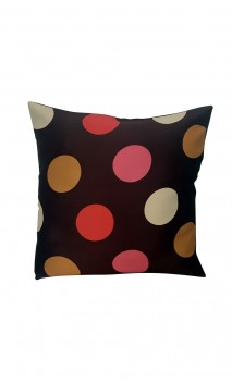 Throw Decorative Pillow Cover Big Colorful Polka-dots over Brown Background