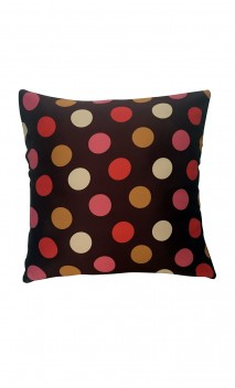 Throw Decorative Pillow Cover Small Colorful Polka-dots over Brown Background