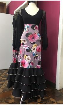 Printed Light Brown 4 Ruffles Flamenco Long-Skirt