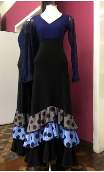Black Collin Flamenco Long-Skirt w/Polka-dots Ruffles