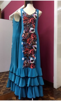 Turquoise Flamenco Long-Dress 3 Ruffles w/Floral Detail