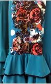 Turquoise Flamenco Long-Dress 3 Ruffles w/Floral Detail