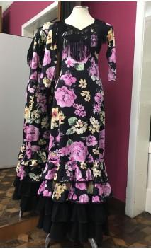 Floral over Black Background 4 Ruffles Flamenco Long-Dress
