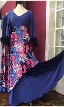 Conjunto Flamenco Saia e Blusa Azul Floral c/Renda