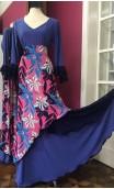 Conjunto Flamenco Falda & Blusa Azul Floral c/Encajes