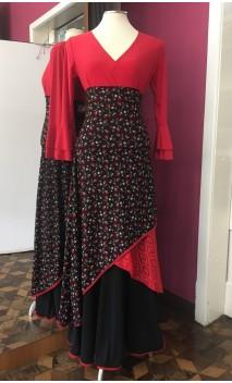 Saia Flamenca Negra Floral c/Punto de Encajes Rojo