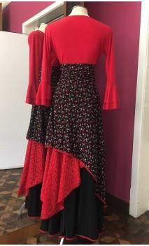 Saia Flamenca Preta Floral c/Malha Rendada Vermelha