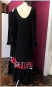 Vestido Flamenco Negro c/Rojo 3 Volantes