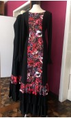 Black & Red Flamenco Long-Dress 3 Ruffles