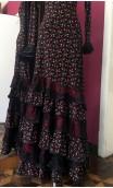 Floral Black Flamenco Long-Dress 6 Ruffles w/Lace