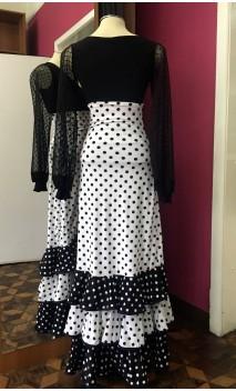 Falda Flamenca Collin Blanca y Negra 3 Volantes