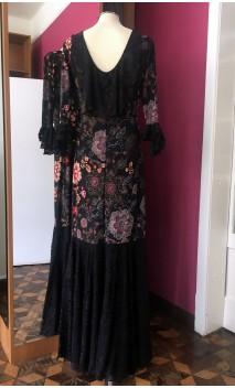 Vestido Flamenco Preto Floral c/Renda Preta