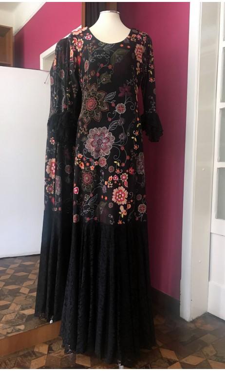 Floral Black Flamenco Long Dress w/ Black Lace