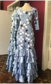 Blue w/ Polka-dots Flamenco Long-Dress 5 Ruffles