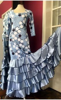 Vestido Flamenco Azul c/Lunares 5 Volantes