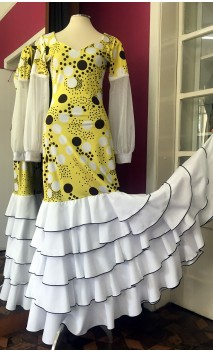 Vestido Flamenco Amarillo c/Lunares 5 Volantes
