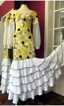 Yellow w/ Polka-dots Flamenco Long-Dress 5 Ruffles