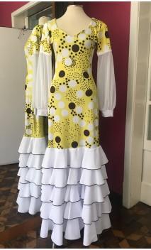 Vestido Flamenco Amarelo c/Bolas 5 Babados