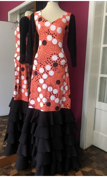 Orange w/ Polka-dots Flamenco Long-Dress 5 Ruffles