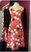 Orange w/ Polka-dots Flamenco Long-Dress 5 Ruffles