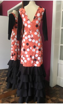 Vestido Flamenco Laranja c/Bolas 5 Babados