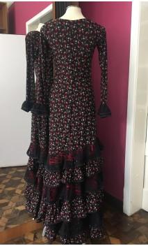 Vestido Flamenco Preto Floral 6 Babados c/Renda
