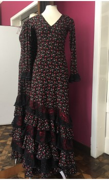 Vestido Flamenco Negro Floral 6 Volantes c/Encajes