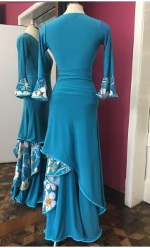 Conjunto Flamenco Saia e Blusa Turquesa