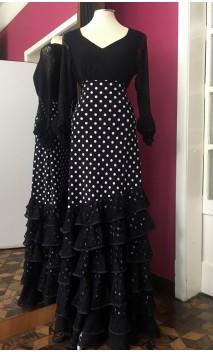 Black w/white polka-dots Flamenco Long-Skirt w/6 Lace Ruffles