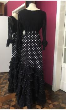 Falda Flamenca Negra c/Lunares Blancos c/6 Volantes de Encajes