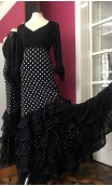 Black w/white polka-dots Flamenco Long-Skirt w/6 Lace Ruffles