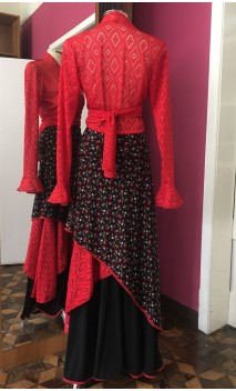 Black Floral Skirt & Red Bolero Flamenco Set
