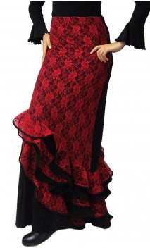Melody Flamenco Long-Skirt w/Lace