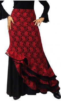 Melody Flamenco Long-Skirt w/Lace