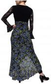 Saia Flamenca Agnes 1 Babado Tule Floral