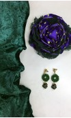 Green Scarf, Earrings & Flower Set