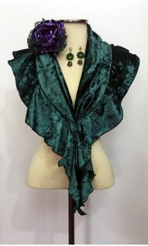 Conjunto Verde de Pañuelo, Pendientes y Flor