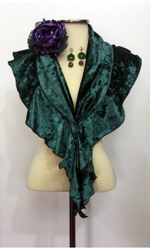 Green Scarf, Earrings & Flower Set