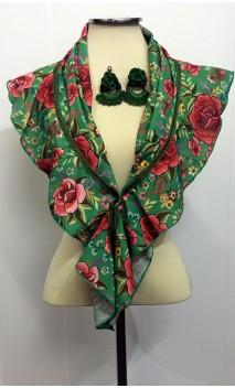 Floral Green Scarf & Crochet Earrings Set