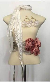 Off-white & Rose Earring, Devourê Scarf & 3 Flowers Belt Set