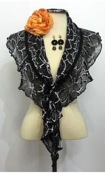 Conjunto Negro y Naranja de Pañuelo de Encajes, Pendientes y Flor